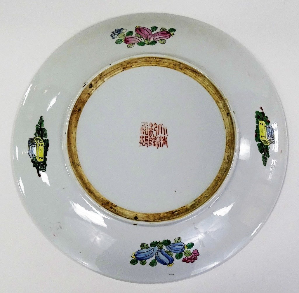 ANTIQUE CHINESE QIANLONG STYLE ENAMELED CHARGER - 4