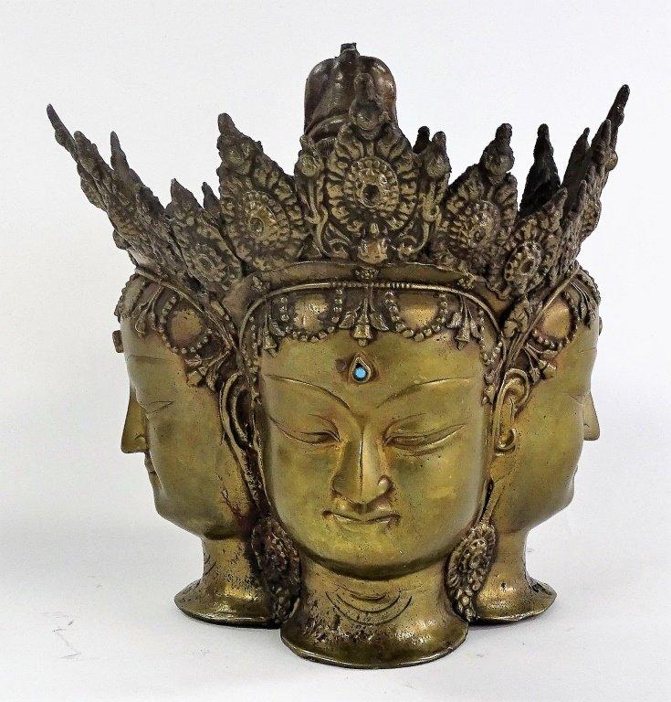 18TH/19TH C. THAI BRONZE BRAHMA HEAD SCUPTURE