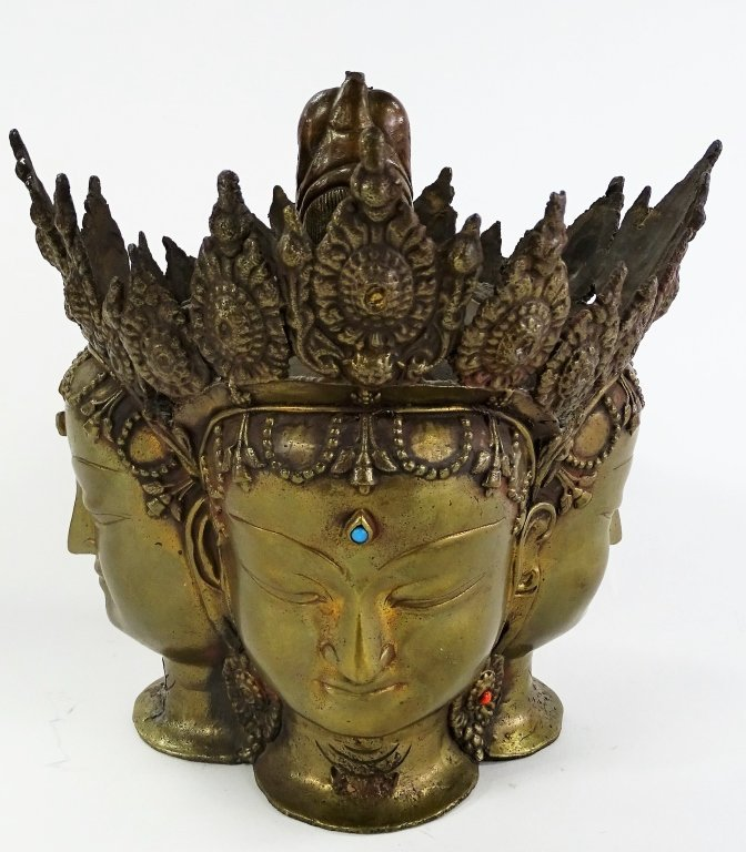 18TH/19TH C. THAI BRONZE BRAHMA HEAD SCUPTURE - 2