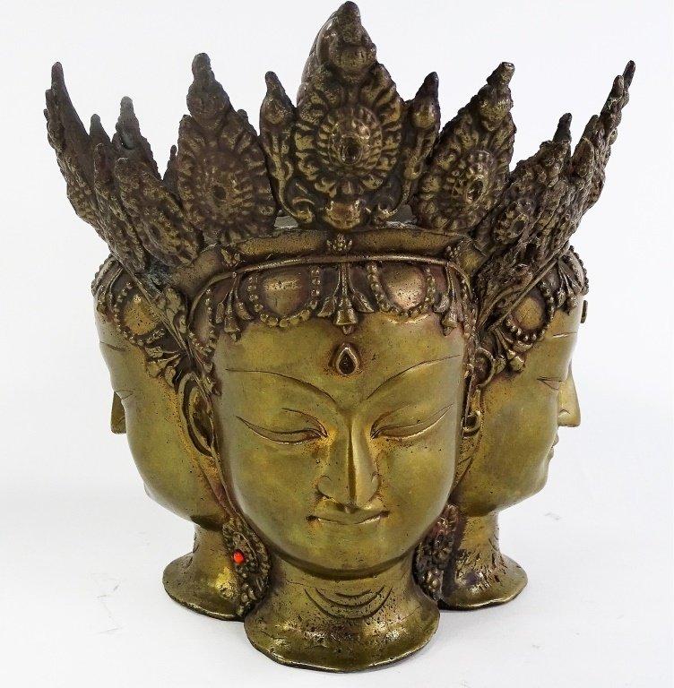 18TH/19TH C. THAI BRONZE BRAHMA HEAD SCUPTURE - 3
