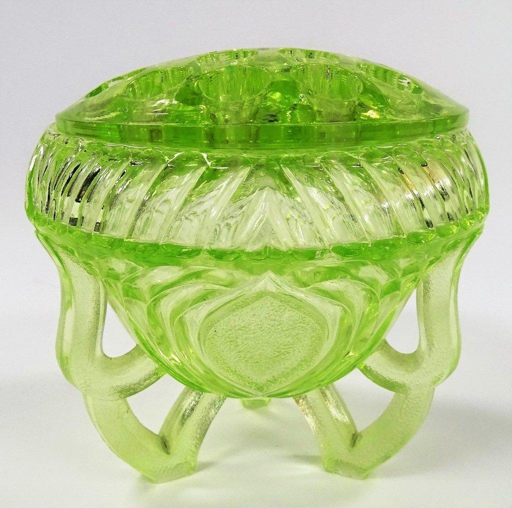 VINTAGE GREEN VASELINE GLASS FLOWER FROG AND BOWL