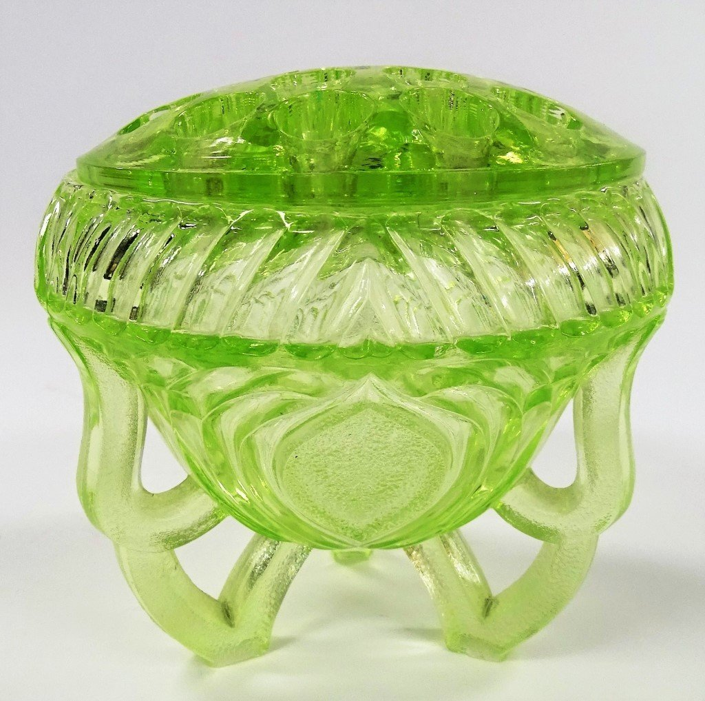 VINTAGE GREEN VASELINE GLASS FLOWER FROG AND BOWL