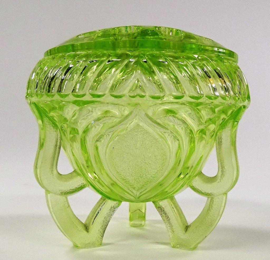 VINTAGE GREEN VASELINE GLASS FLOWER FROG AND BOWL - 2