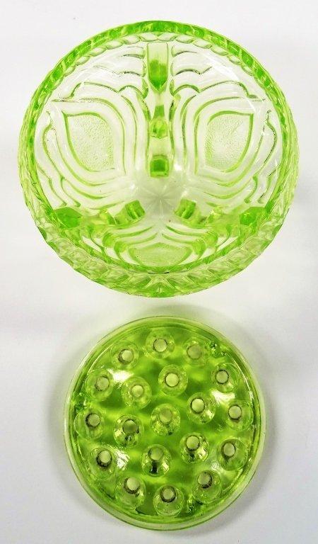 VINTAGE GREEN VASELINE GLASS FLOWER FROG AND BOWL - 4