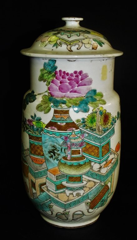 18TH/19TH C. CHINESE PORCELAIN COVERED URN