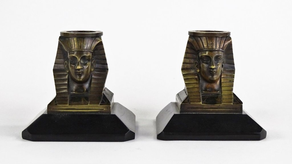 PAIR OF EGYPTIAN REVIVIAL BRONZE CANDLESTICKS