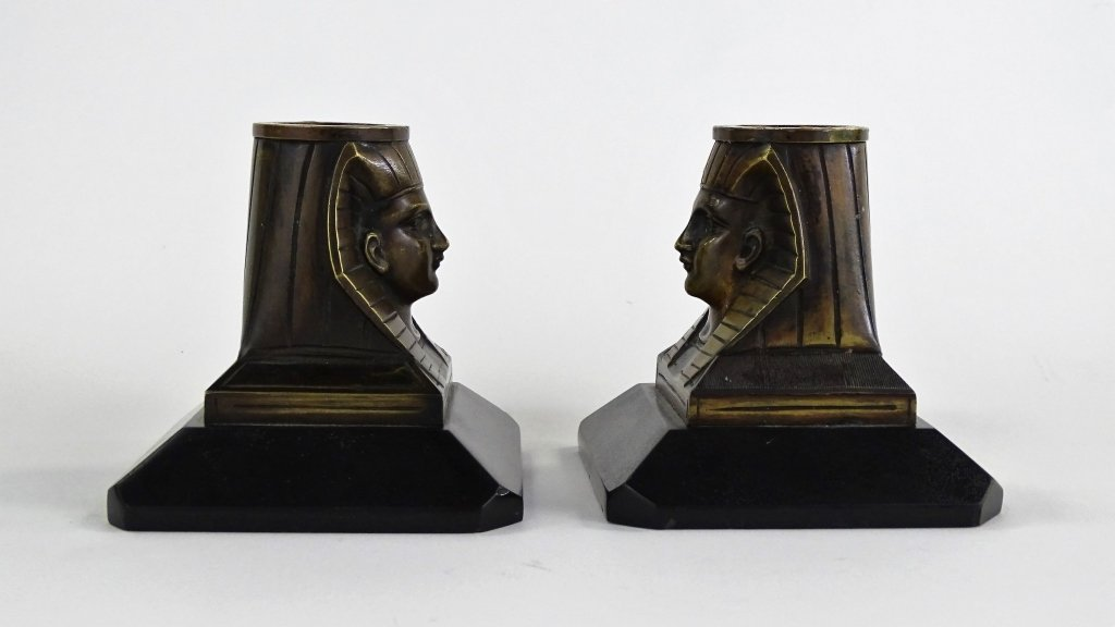 PAIR OF EGYPTIAN REVIVIAL BRONZE CANDLESTICKS - 2
