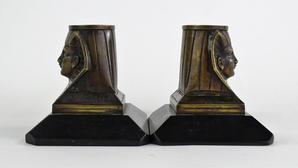 PAIR OF EGYPTIAN REVIVIAL BRONZE CANDLESTICKS - 3