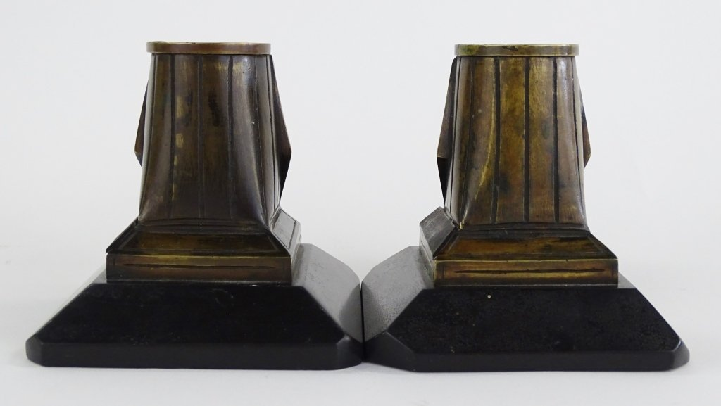PAIR OF EGYPTIAN REVIVIAL BRONZE CANDLESTICKS - 4