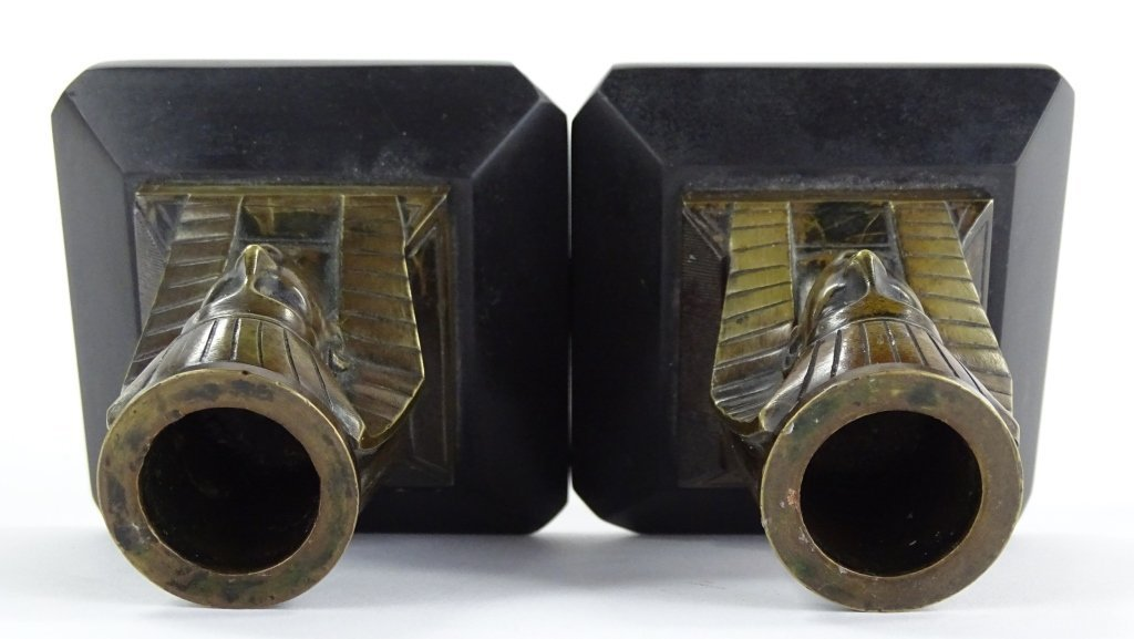 PAIR OF EGYPTIAN REVIVIAL BRONZE CANDLESTICKS - 5