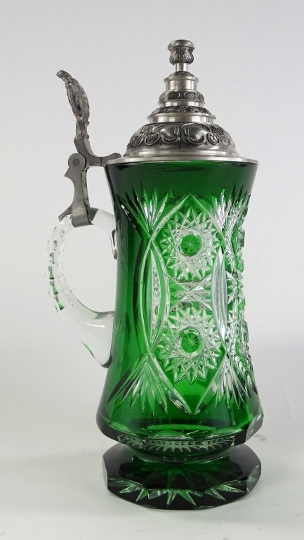 LARGE BOHEMIAN ETCHED GLASS TO CLEAR BEER STEIN