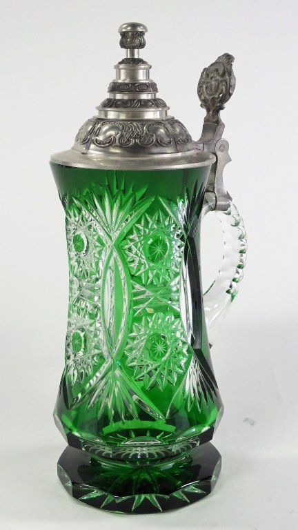 LARGE BOHEMIAN ETCHED GLASS TO CLEAR BEER STEIN - 2