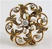 LADIES 14KT GOLD DIAMOND & SEED PEARL PIN/PENDANT