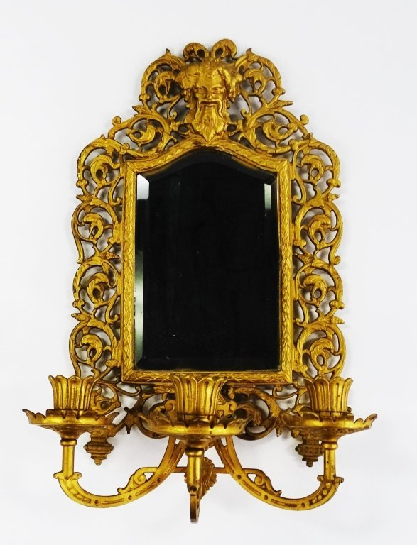 CONTINENTAL MIRROR 3 BRANCH BRASS WALL SCONCES