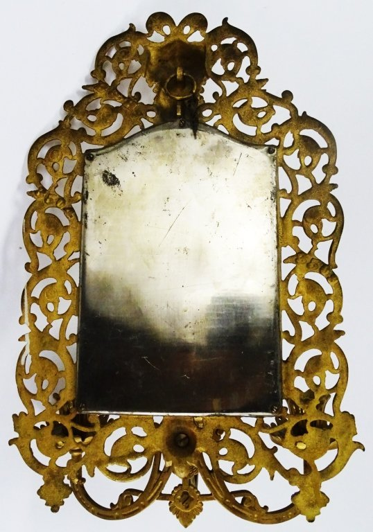 CONTINENTAL MIRROR 3 BRANCH BRASS WALL SCONCES - 2