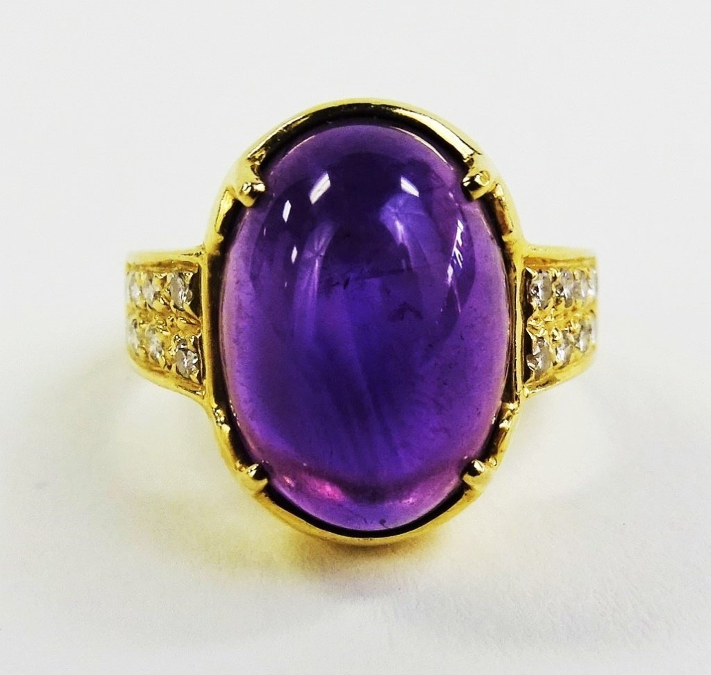 LADIES 14KT YELLOW GOLD AMETHYST & DIAMOND RING