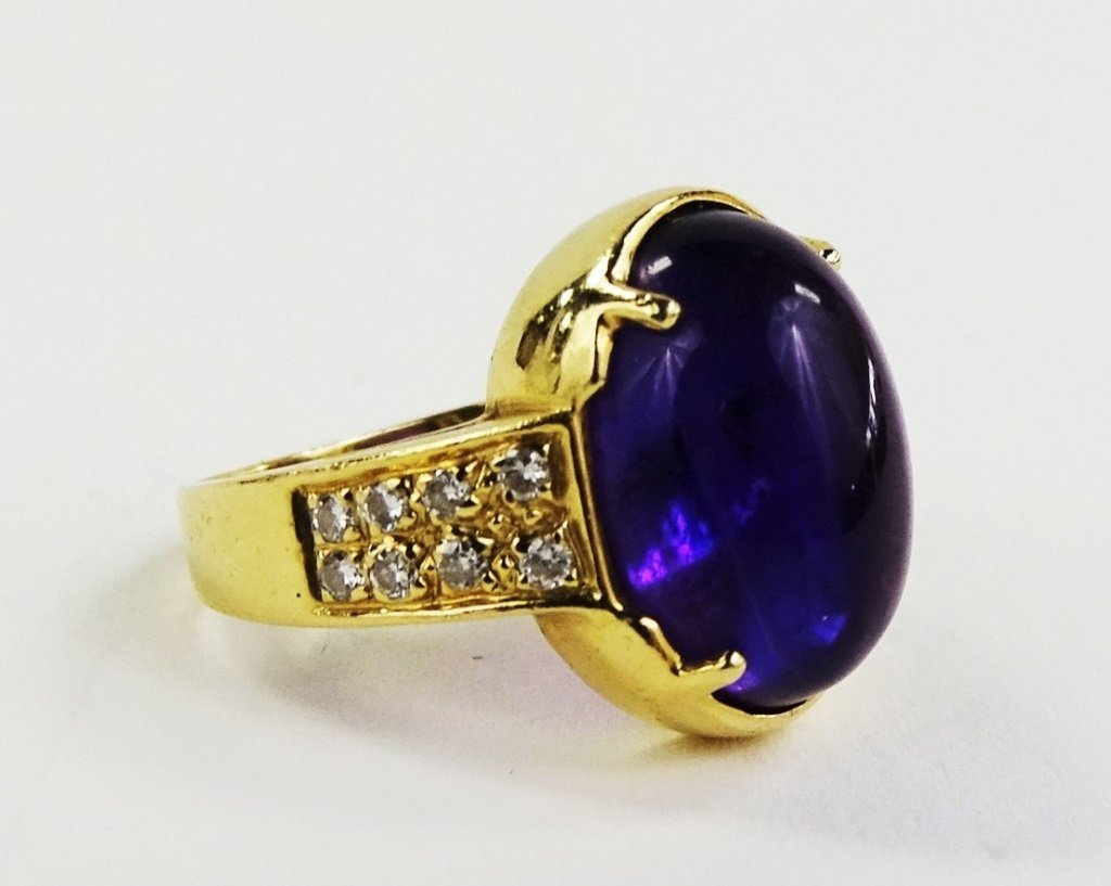 LADIES 14KT YELLOW GOLD AMETHYST & DIAMOND RING - 2