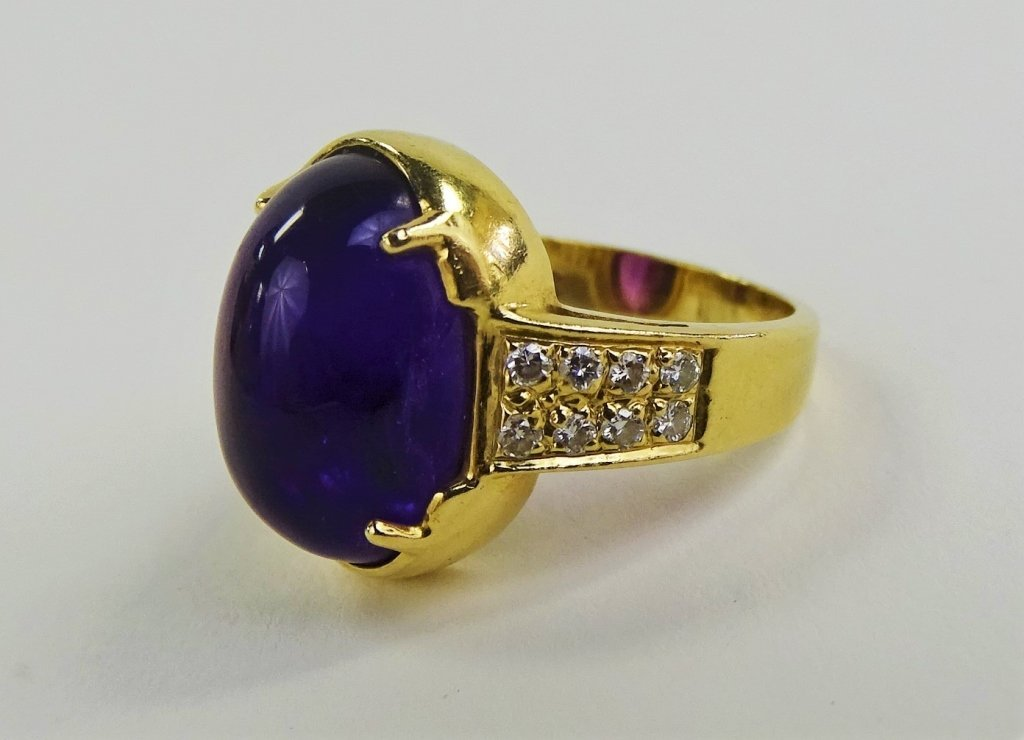 LADIES 14KT YELLOW GOLD AMETHYST & DIAMOND RING - 3