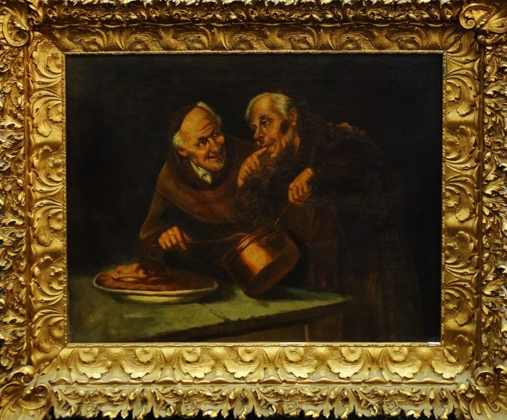 ANTIQUE OIL ON CANVAS PAINTING OF 2 MONKS COOKING
