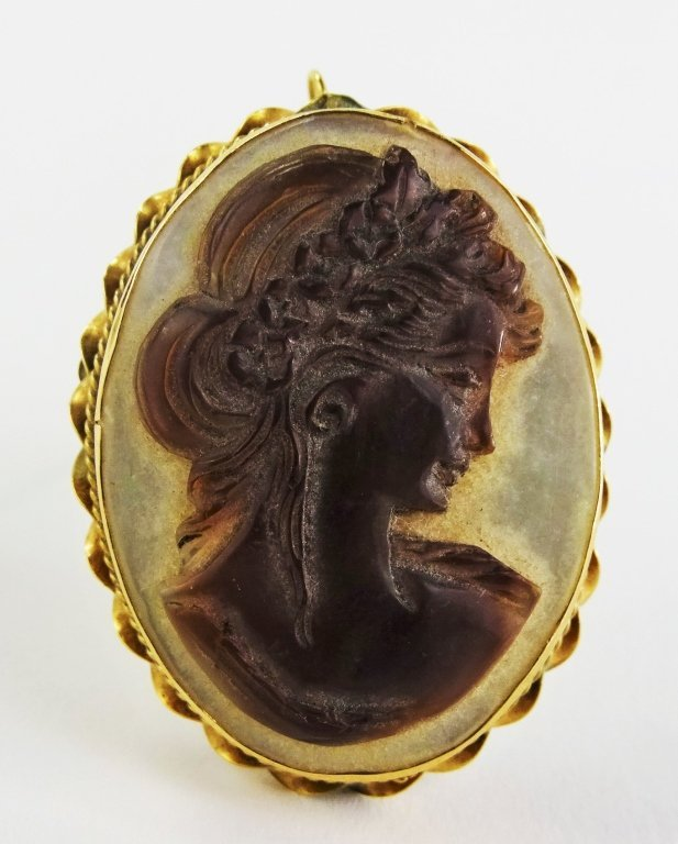 ANTIQUE 14KT YG INTAGLIO CUT CAMEO PIN/PENDANT