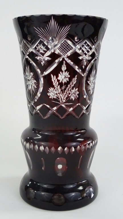 LARGE BOHEMIAN ETCHED RED CUT TO CLEAR VASE - 2