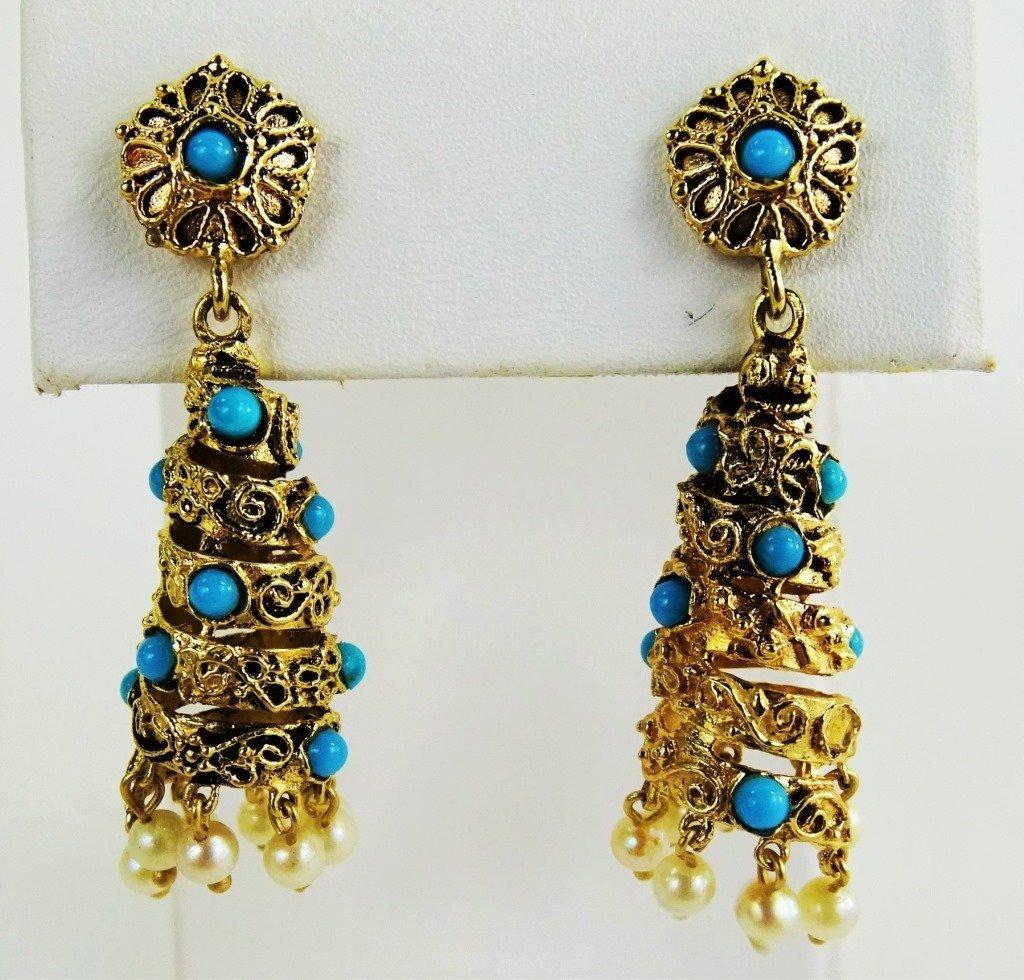 PR VINTAGE LADIES 14KT GOLD TURQOUISE DROP EARRINGS