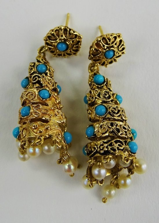 PR VINTAGE LADIES 14KT GOLD TURQOUISE DROP EARRINGS - 2