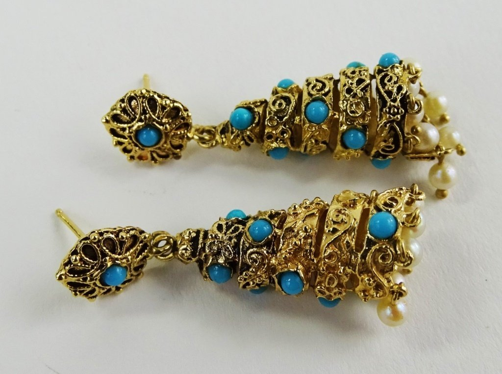 PR VINTAGE LADIES 14KT GOLD TURQOUISE DROP EARRINGS - 3