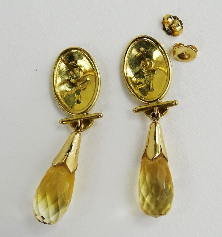 PR LADIES 18KT GOLD CAMEO & CITRINE DROP EARRINGS - 4