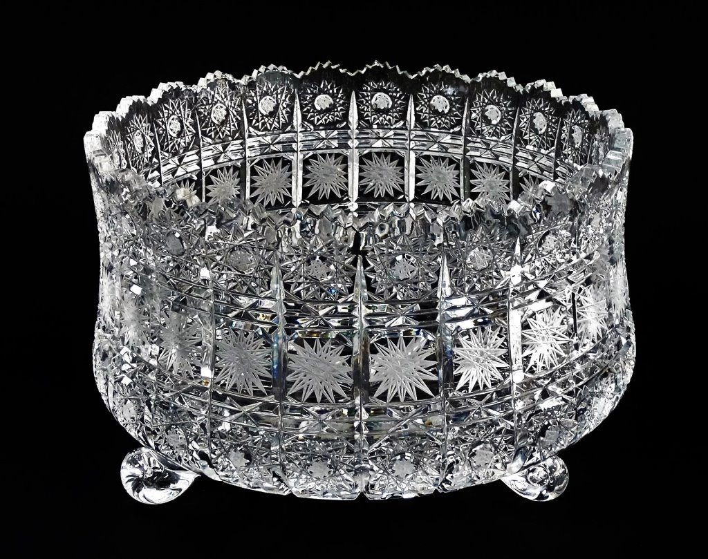 BRILLIANT CUT CRYSTAL FOOTED CENTERPIECE BOWL