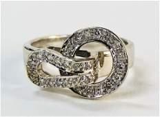 VINTAGE LADIES 14KT WG & DIAMOND BUCKLE RING