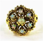 LADIES VICTORIAN STYLE 14KT YG OPAL CLUSTER RING