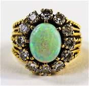 LADIES ETRUSCAN STYLE 14KT YG OPAL  DIAMOND RING