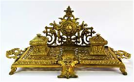 ANTIQUE FRENCH GILT BRONZE FOOTED DOUBLE INKWELL