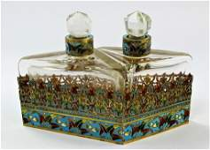 2PC FRENCH CHAMPLEVE ENAMELED PERFUME CADDY