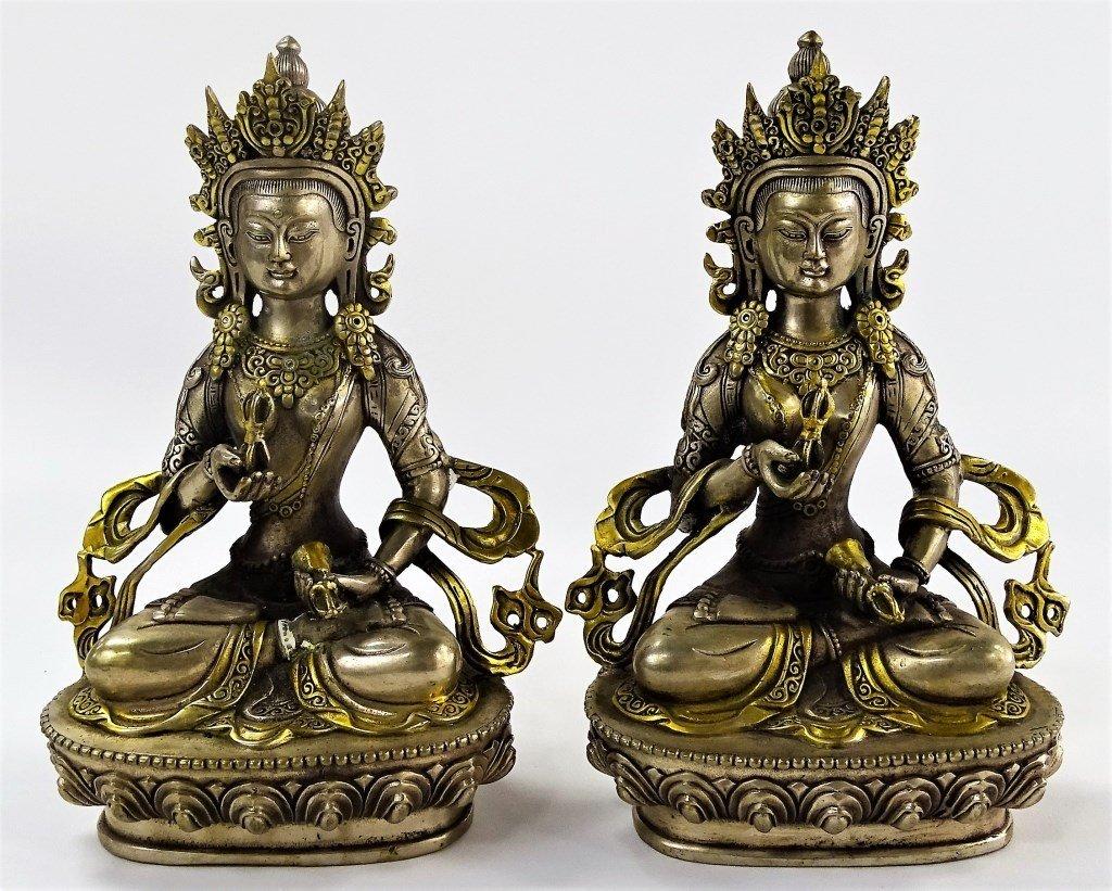 PR 19TH C. TIBETAN SILVERED BRONZE BUDDHA FIGURES