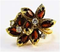VINTAGE LADIES 14KT YG GARNET  DIAMOND RING