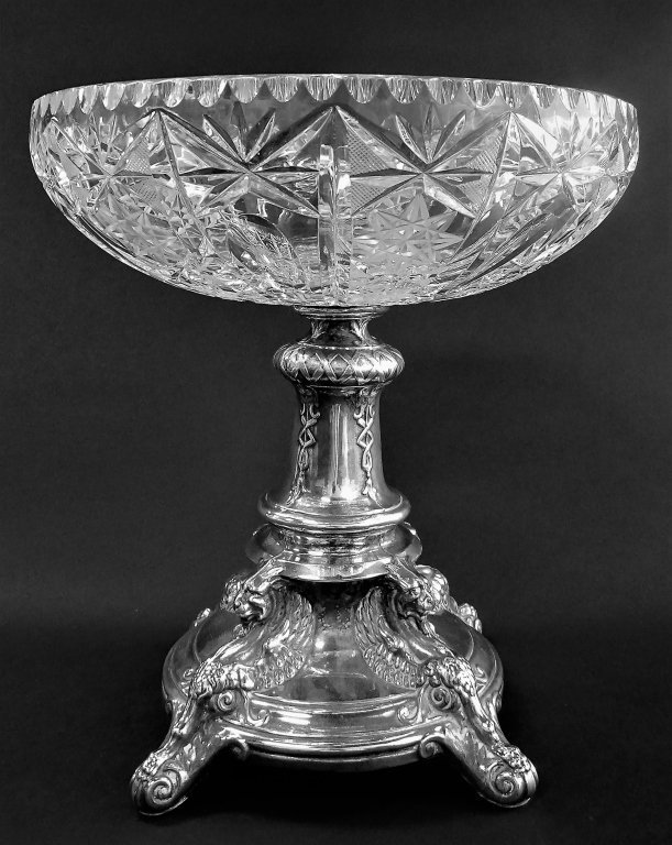 LARGE SILVER AMERICAN CUT CRYSTAL BOWL CENTERPIECE
