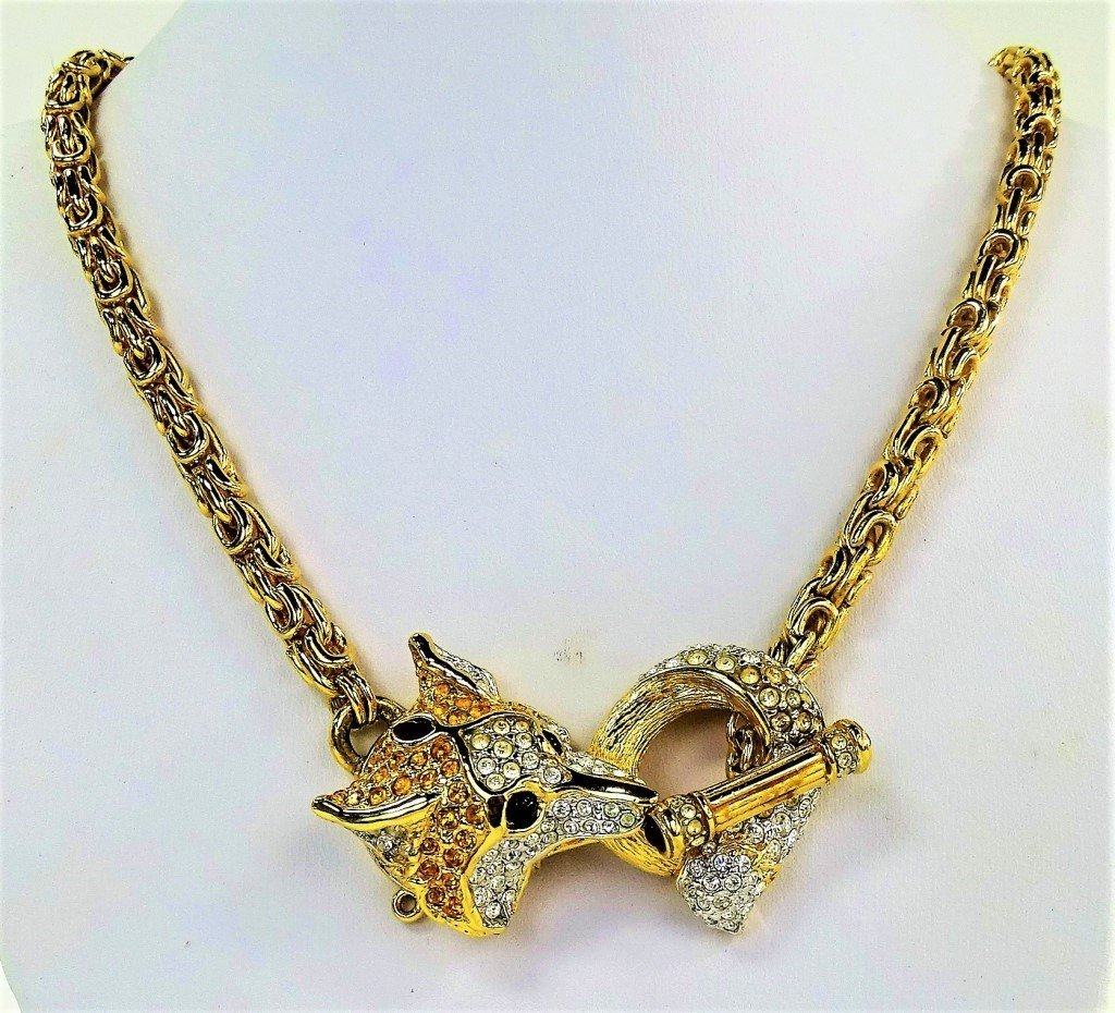 SWAROVSKI CRYSTAL JEWELED FOX CHARM NECKLACE