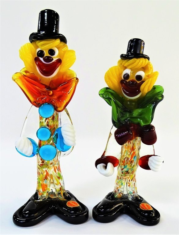 PAIR OF 2 MURANO GLASS MULTI COLORED CLOWNS