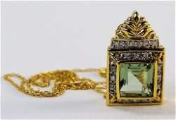 14KT YG GREEN AMETHYST & DIAMOND PENDANT NECKLACE