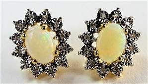 PR VINTAGE 14KT YG DIAMOND  WHITE OPAL EARRINGS