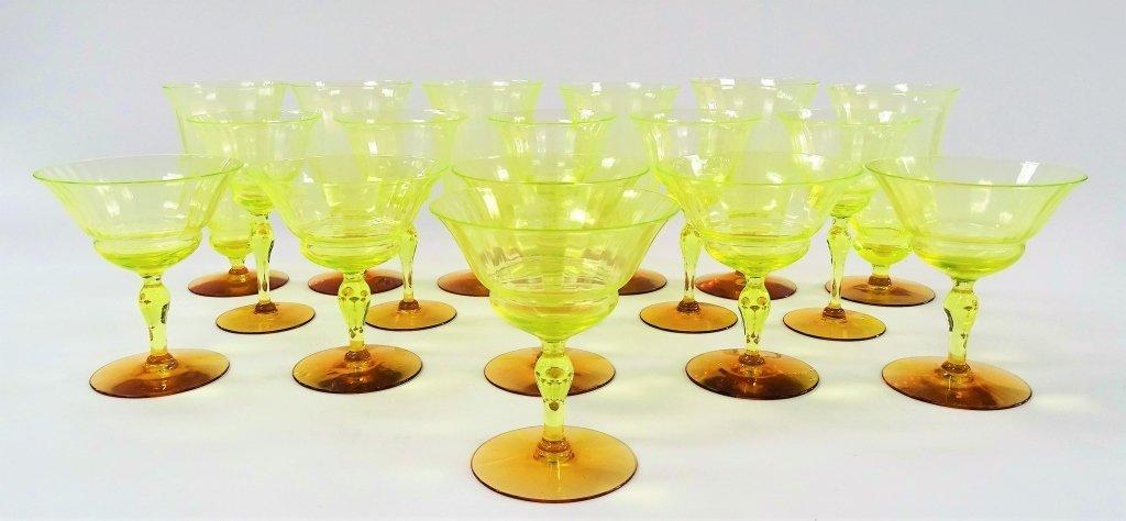 17 PIECES OF ANTIQUE SWEEDISH VASELINE GLASSES