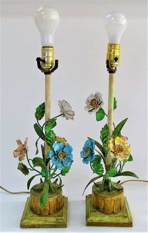 PAIR OF SHABBY CHIC METAL FLORAL LAMPS