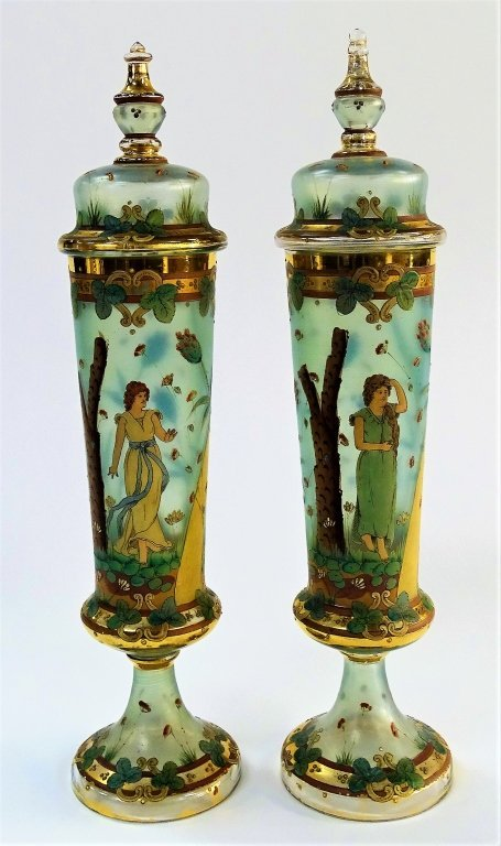 RARE MOSER POKAL PAIR OF ANTIQUE COVERED VASES