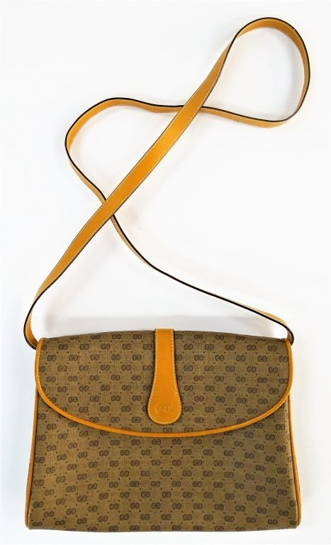 GUCCI ITALIAN BROWN LEATHER MONOGRAMMED HANDBAG