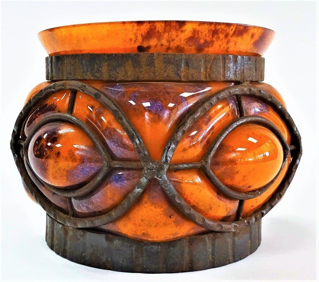 MARJORELLE CAST IRON MOUNTED ART GLASS