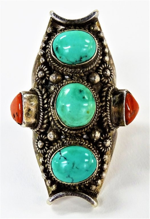 LARGE HEAVY NAVAJO STERLING TURQUOISE &CORAL RING
