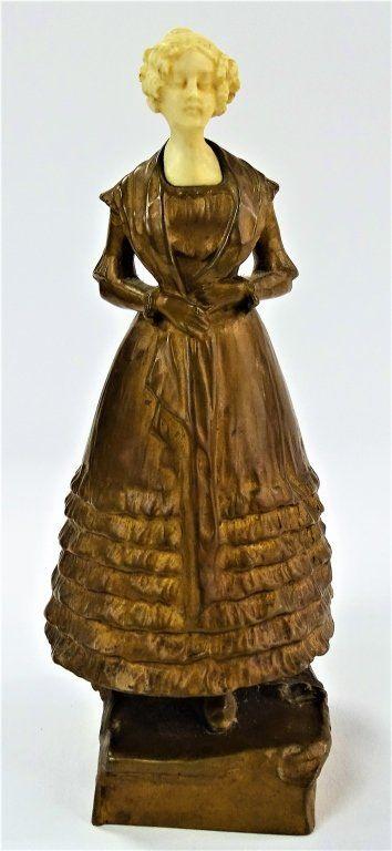 19TH C. AUSTRIAN BRONZE WOMAN IN CRINOLINE SCULPT