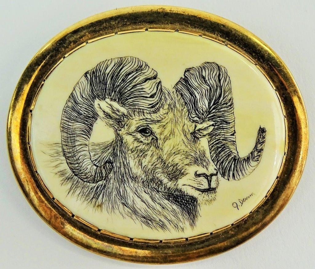 NAVAJO BELT BUCKLE 14KT GOLD & STERLING CARVED RAM